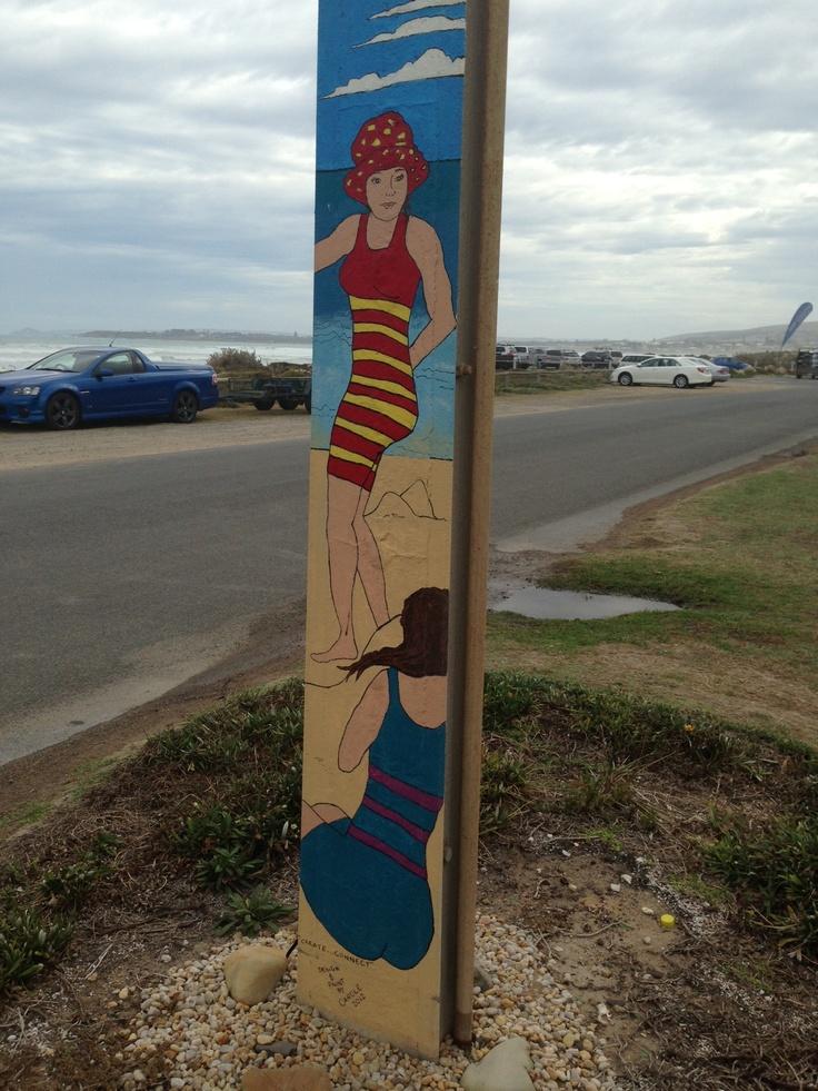 Bathing Beauties - Street Art on stobie pole on Esplanade at Middleton Beach