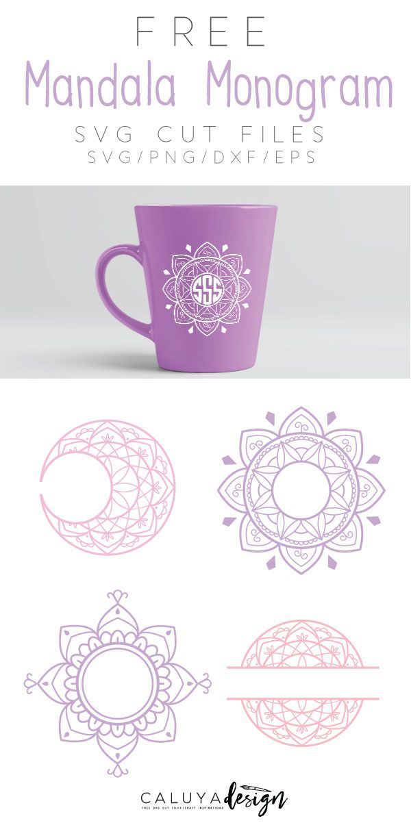 FREE Mandala monogram SVG cut file compatible with Cricut, Cameo Silhouette and other major cutting machines. monogram SVG cut file, Moon SVG cut file, monogram SVG cut file, Yoga SVG cut file, namaste SVG cut file, free SVG cut file