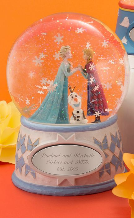 Invite wonder and relive their favorite parts with Elsa, Anna and Olaf with our Jim Shore Disney Showcase Frozen Snow Globe personalized just for your Disney fan. Made exclusively for Things Remembered, this playful snow globe is a great gift for kids or adults!