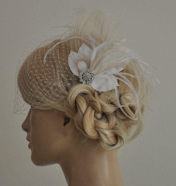 Birdcage Veil ,peacock Feathers Fascinator,(2 ITEMS), bridal Feathers Fascinator, wedding Accessories,bridal head piece,Hair Accessories via Etsy