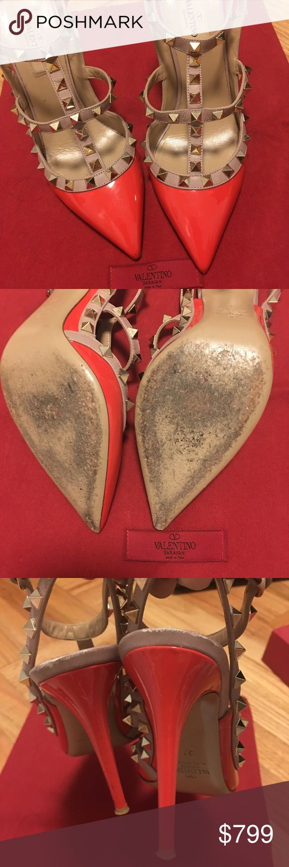 """Valentino Rockstud Pumps Worn 3 times. Heel height is 4"""". Bright coral color. I lost the original box when I moved, but I will send the box, dust bag, replacement studs of my other Valentino pumps. I am happy to answer all of your questions. Thanks! Valentino Shoes Heels"""