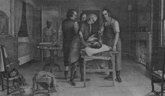 Ovariotomía realizada por el Dr. Ephraim McDowell, médico de Danville, Kentucky, EE.UU., quien en 1809, en las condiciones más rudimentarias y sin anestesia ni antisepsia, extirpó un tumor ovárico de una tal Sra. Crawford, quien entonó himnos durante toda la intervención. Esta operación señaló el comienzo de la cirugía abdominal.