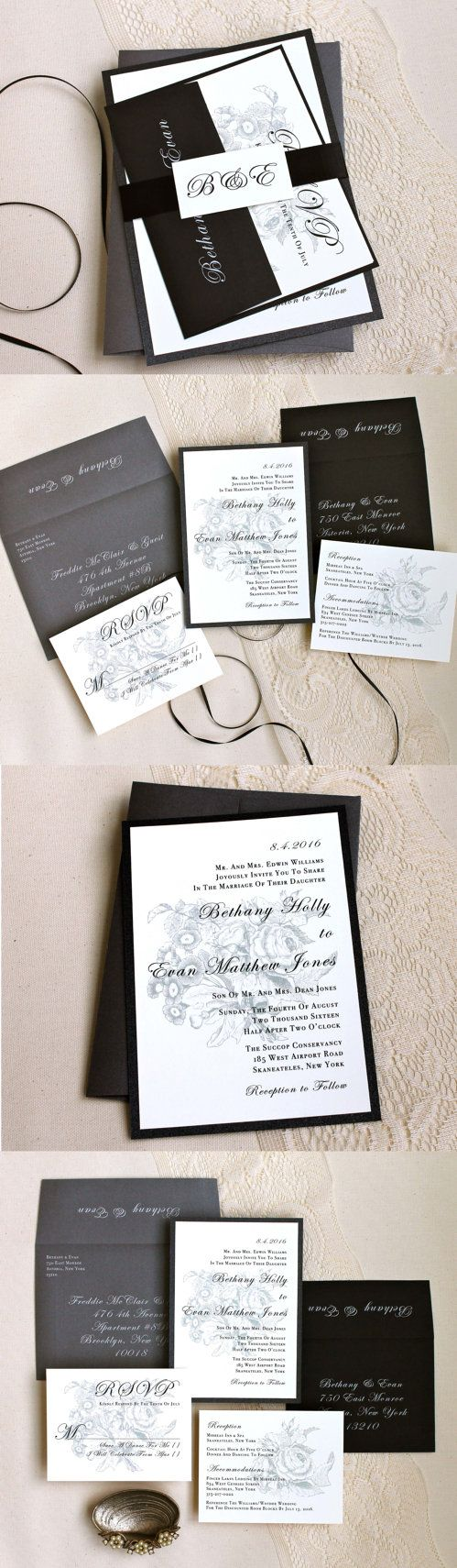 funny wedding invitation rsvp goes viral%0A Elegant Wedding Invitation Black  Gray  u     Ivory