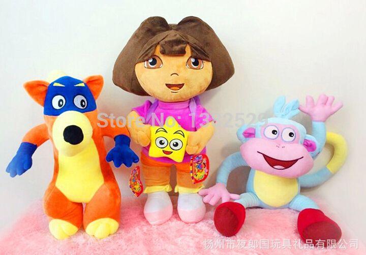 3шт / комплект для дети день рождения 35 см дора, 35 см ботинки обезьяна, 35 см Swiper лиса 3шт / игрушка комплект