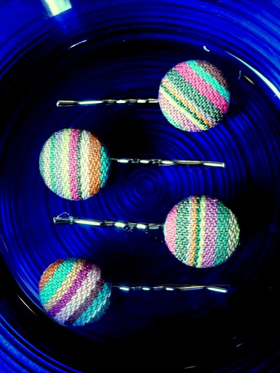 Wrap Scrap Oversized Button Bobby Pins in by WhisperBlossom, $8.00