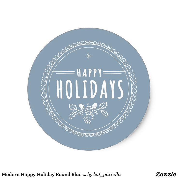 Modern happy holiday round blue christmas sticker