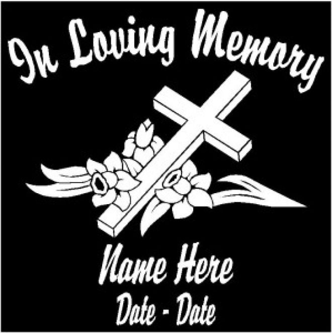 In loving memory with a cross and roses car decal