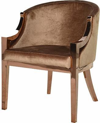 Velvet and Copper Armchair (Chair)