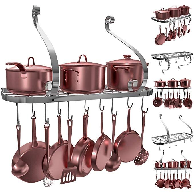 Vdomus Square Grid Wall Mount Pot Rack Bookshelf Rack With 10 Hooks Kitchen Cookware 24 By 10 Inch Sliver Review Pot Rack Kitchen Cookware Pot Rack Hanging