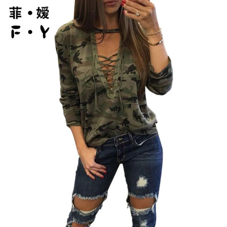 >> Click to Buy << Camouflage Print Women Long Sleeve Slim T-Shirt Fashion V-Neck Lace-up Lady Sexy Tops Army Style Casual Female TShirt Tee #Affiliate