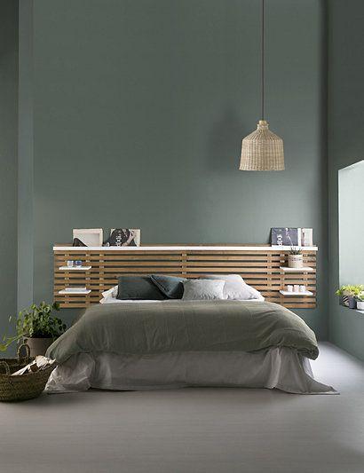 Tête de lit avec tablettes NIDRA bois et blanc Style scandinave