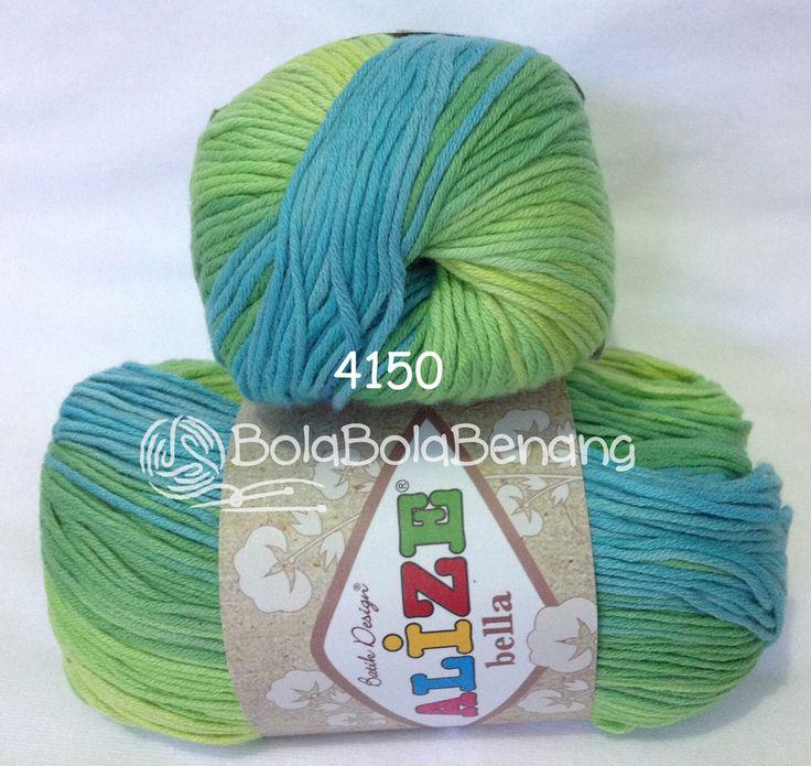 Alize Bella Batik 4150, Price: Rp.65.000,- /gulung, Bahan: 100% COTTON, Berat/Panjang: 50gram/180mt, Knitting Needles: 2mm - 4mm, Crochet Hook: 1mm - 3mm