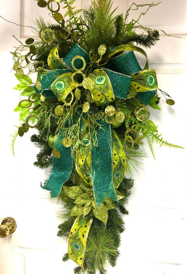 Peacock Christmas Swag, Green and aqua Christmas Swag, Teardrop Swag, Christmas Decor by LisasLaurels on Etsy