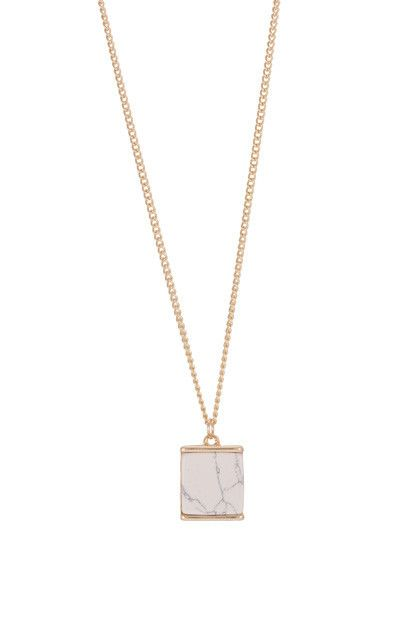 Marble cube pendant necklace in gold