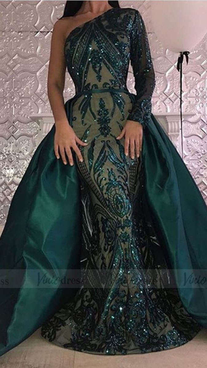 Modest Emerald Hunter Green Long Sleeve Prom Formal Dresses With Detachable Train Luxury Lace Beaded Mermaid Evening Wear Dress From Readygogo 190 96 Dhgate Prom Dresses With Sleeves Prom Dresses Long [ 950 x 1024 Pixel ]