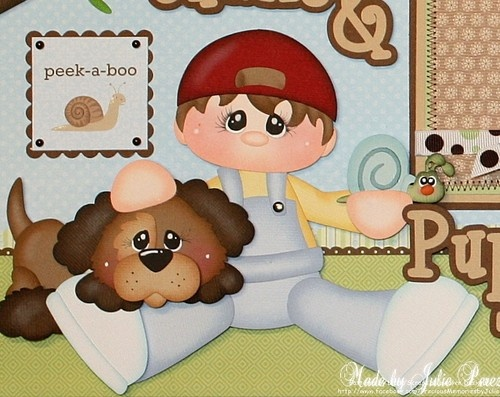 """""""Snips & Snails & Puppy Dog Tails"""" premade Scrapbook pages.  Available on ebay here:  http://www.ebay.com/itm/300850583596?ssPageName=STRK:MESELX:IT&_trksid=p3984.m1555.l2649"""