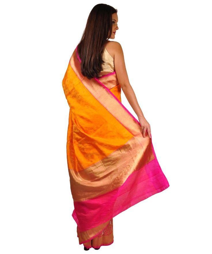 Orange Shot and Rani Pink Gold Zari Banarasi Pure Silk Saree