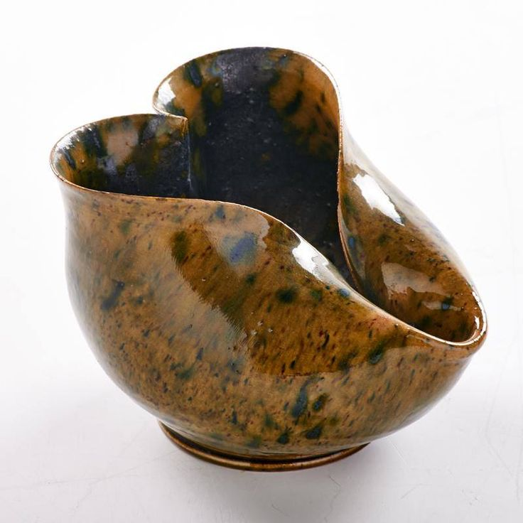 George Ohr Heart Shaped Vessel Covered In Mottled Green And Amber Gunmetal Glaze Stamped Modern CeramicsContemporary