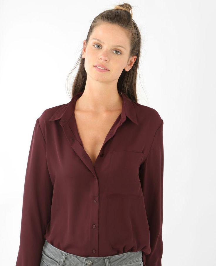 Soepelvallende blouse granaatrood