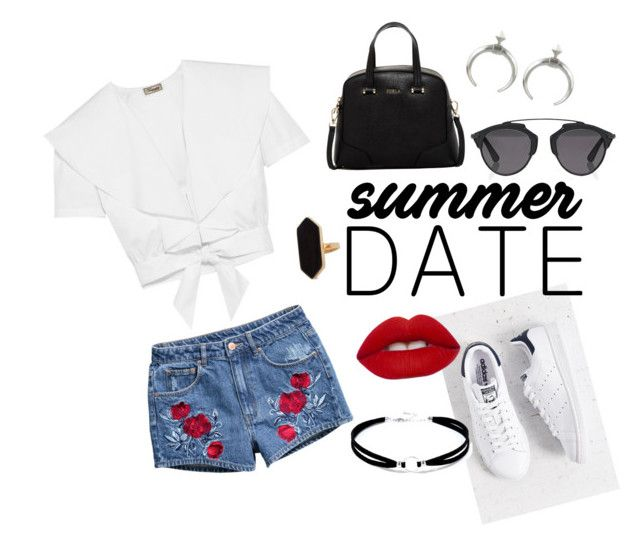 """Summer date"" by mariapap624 on Polyvore featuring H&M, Temperley London, adidas, Lime Crime, Furla, LULUS, Jaeger and Christian Dior"
