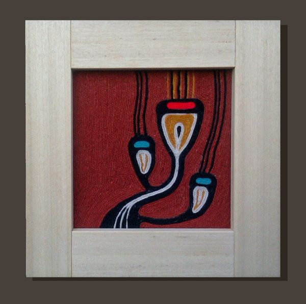 Red. Wool painting. Decorative panel made by wool glued by Marcella Peluffo, via Behance