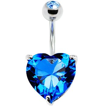 December 14mm Heart Solitaire Birthstone Belly Ring #bodycandy #bellyring #heart $11.99