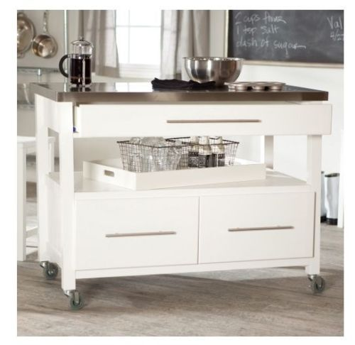 White Rolling Kitchen Island Stainless Top Cart Wheels Utility Storage Cabinet48 X 26 Xclipper