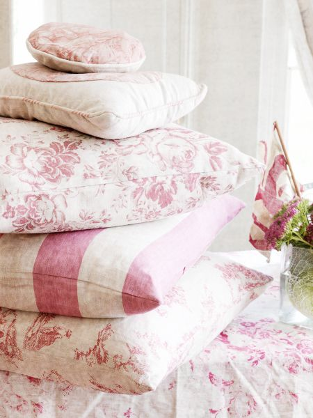 Pink cushions by Cabbages and Roses <3