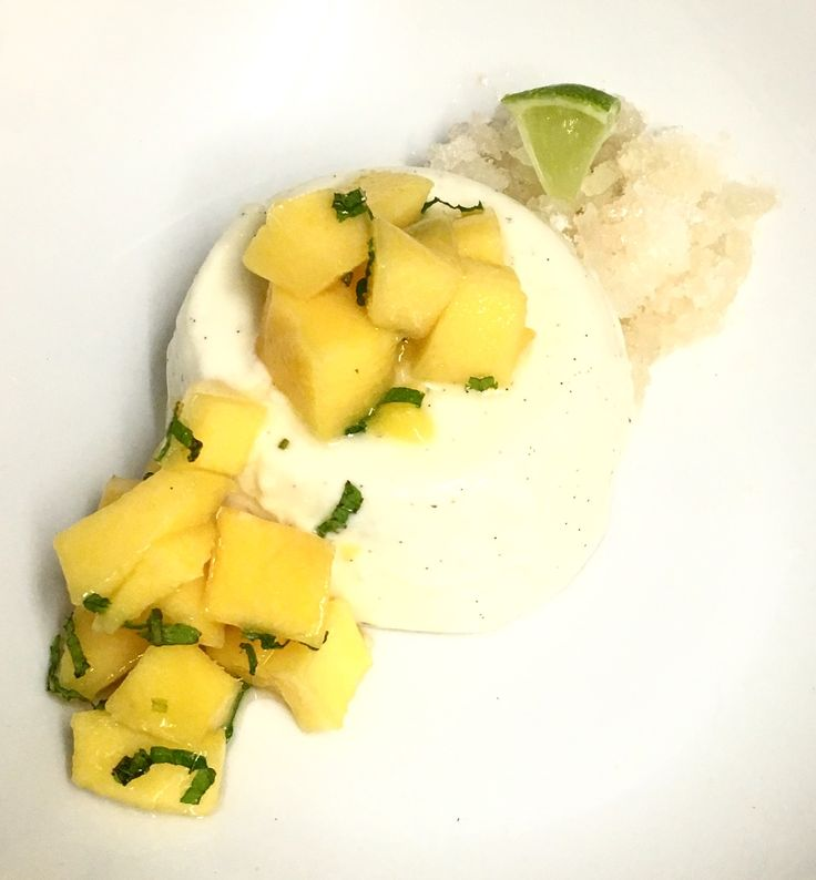 Coconut Panna cotta with mango salsa and lime and rum granita caterer and Personal chef service that covers Somerset and Dorset including Weymouth, Sherborne, Bruton, Bridport, Dorchester, Lyme Regis, Weston and Yeovil. Www.stevejamesltd.com