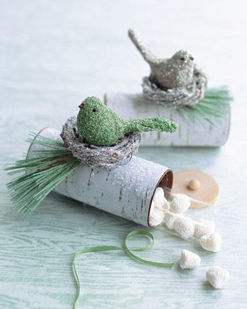 Sweet little treat or gift idea.To decorate top  I think to use what I have around like pine sprigs, holly berries, little woodland animals, make nest from grape vines, fake straw stuff, moss, etc. cut cicles from plasic or heavy cardboard, punch hole in center place wood, clay, wrapped and glued chenile,...bead. Can also make little bird.