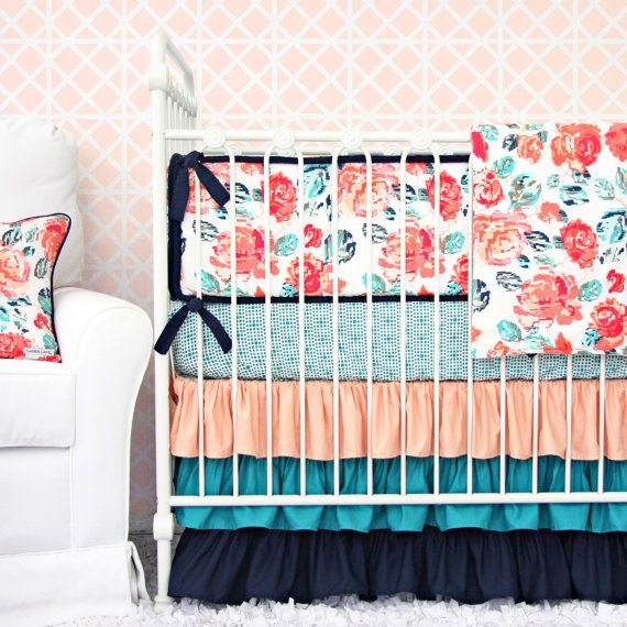 Floral and ruffles what more can you want for a little girls baby nursery. Caden Lane's Everlys's Garden baby bedding is the perfect combination of bold and bright colors! Everlys Garden Baby Bedding 2 or 3 pc by CadenLaneBabyBedding
