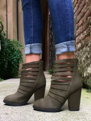 Strappy stacked heel booties with a zipper closure on the backside. COLOR: Moss SIZING: true to size, super comfy