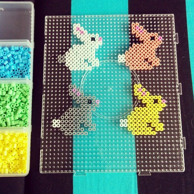 Easter bunnies hama beads by evatonning