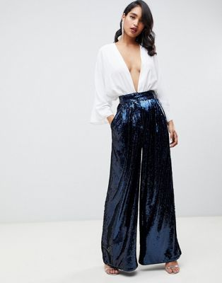 bae8bfd97a7 EDITION high waisted sequin wide leg pants in 2019