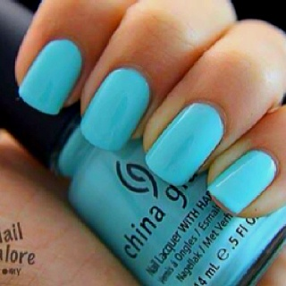 China Glaze light blue nail polish. I absolutely love this color.