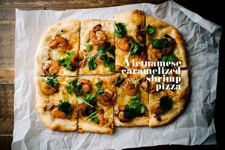 Vietnamese caramelized shrimp pizza recipe - www.iamafoodblog.com