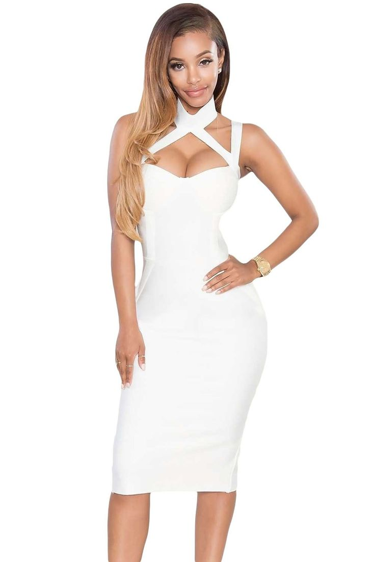 Bandage Robe Blanche A Col Creux Sur Robe Pas Cher www.modebuy.com @Modebuy #Modebuy #Blanc #me #sexy #style