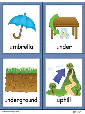 Letter U Words and Pictures Printable Cards: Umbrella, Under