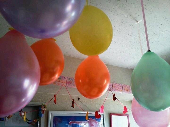 birthday party w baloons + heart shaped felt