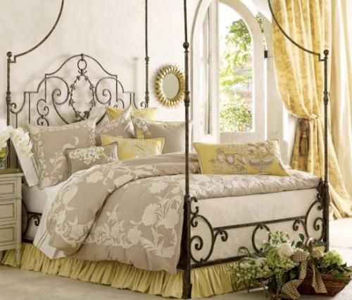 wrought iron canopy bed soft colors show off the black - Gotische Himmelbettvorhnge