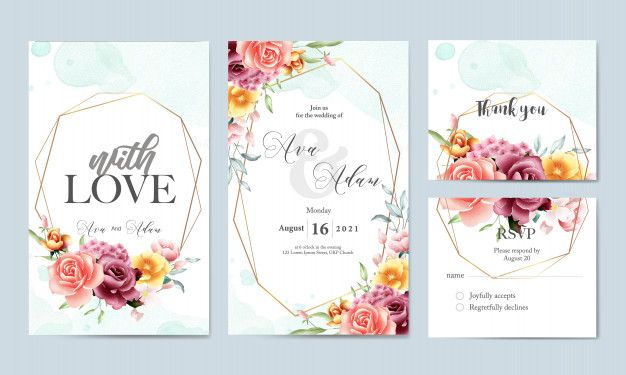 Floral Watercolor Wedding Invitation Template Set Wedding