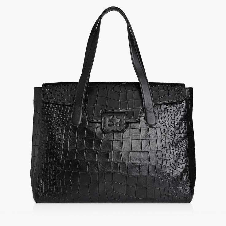 LARA - BLACK, FLAT CROC. This beautiful everyday companion will make sure that everything from your laptop to your wallet is packed perfectly.