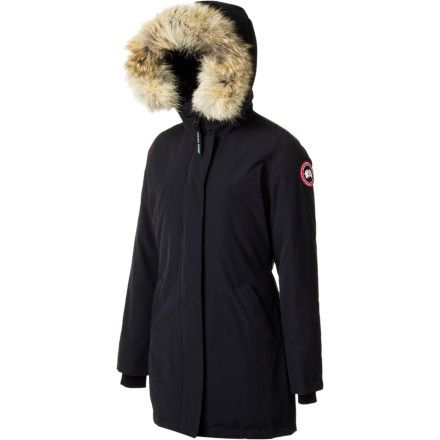 Canada Goose Women's Victoria Down Jacket if you ever find yourself at a January fashion shows in Montreal or Stockholm, because you will need an insanely warm jacket to fend of the chill. But, you'll also need something insanely stylish to fend off judgmental glances from the fashion-savvy crowds. This parka combines superior cold-stopping materials with elegant design so don't have to worry about the cold or about sartorial insufficiency.