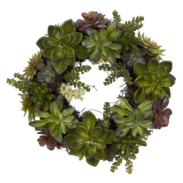 """The wonderful Southwestern floral is very evident in this 20"""" Succulent artificial wreath and is presented by ExcellentSilkFlowers.com."""