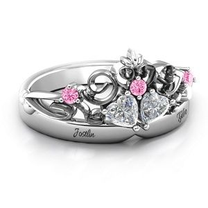 Royal Romance Double Heart Tiara Ring with Engravings #jewlr