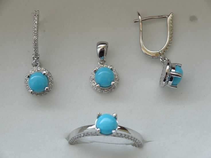 $76 TURQUOISE 925 STERLING SILVER SET, info@bijuterie-online.ro