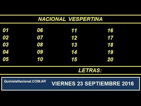 Video Quiniela Nacional Vespertina Viernes 23 de Septiembre de 2016 Pizarra del sorteo vespertino en el recinto de Loteria Nacional a las 17:30