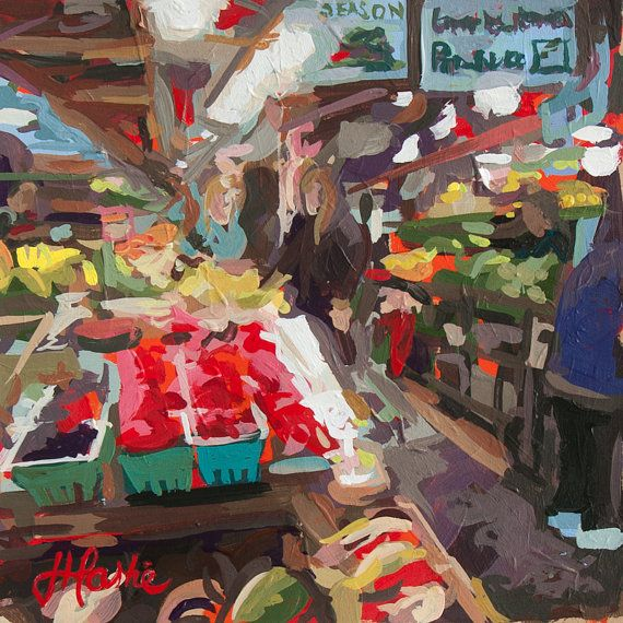 Original artwork painted by Joanne Hastie. This painting is of inside the Granville Market on Granville Island in Vancouver. A popular destination for Vancouverites to get fresh produce and tourists to visit. This painting was done back in my studio from a photo. I was very much craving raspberries after painting this scene! I will have to go back while they are still in season. I have wanted to paint the market since visiting Sicily and seeing famous artwork of the markets there. What a…