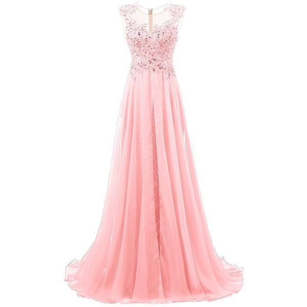 Dresstells? Long Wedding Dress Bridesmaid Dress Evening Gown with... (6,670 DOP) ❤ liked on Polyvore featuring dresses, gowns, long length dresses, beading dress, beaded dresses, beaded ball gown and long bridesmaid dresses