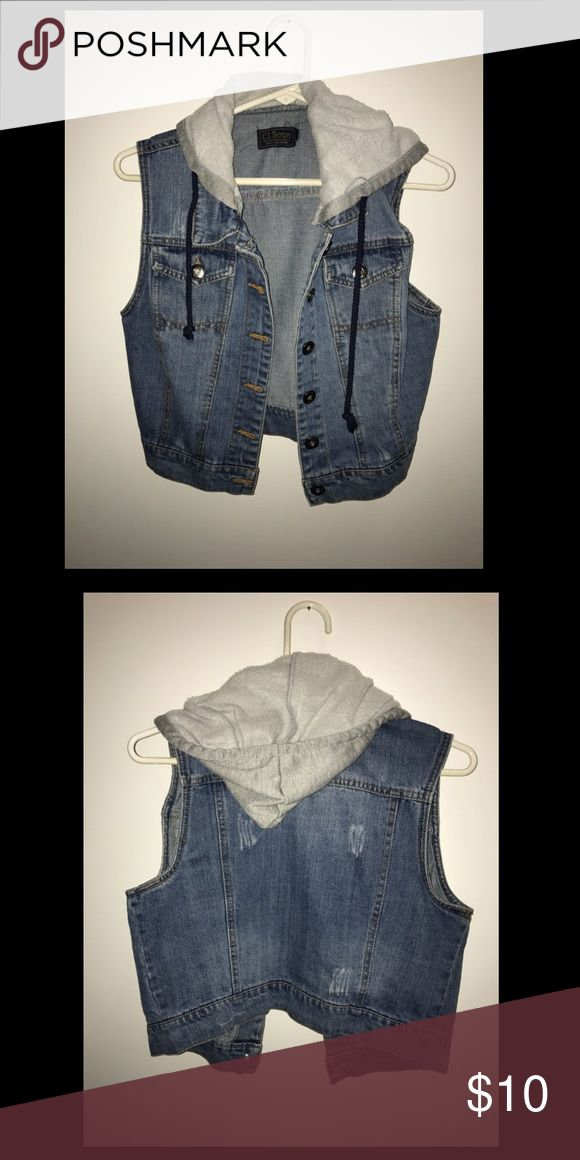 Hooded jean vest Very comfortable hooded jean vest! Make me an offer :) Tops Tank Tops